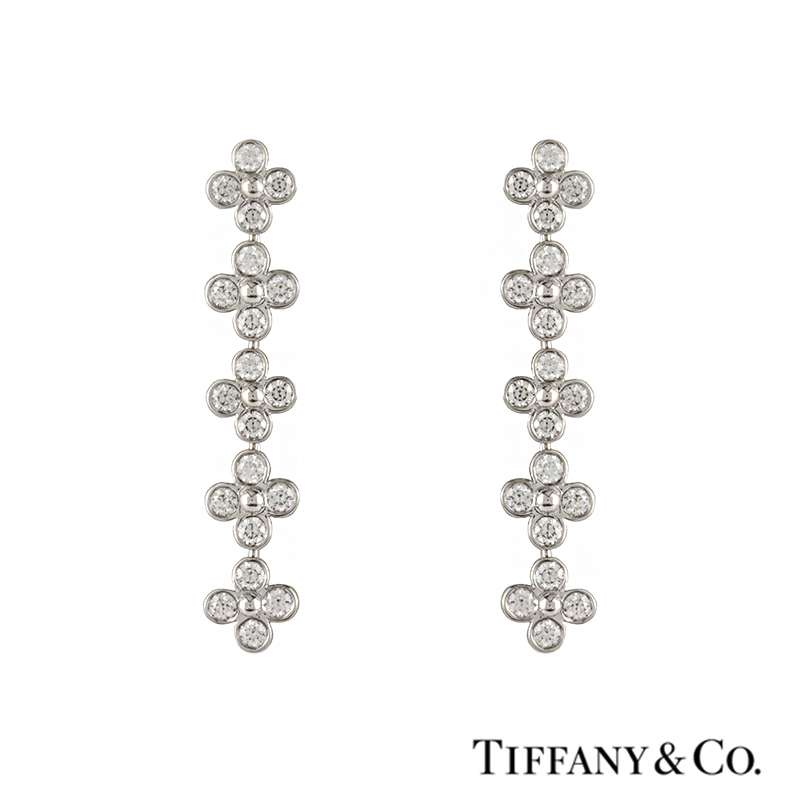 Tiffany & Co. Diamond Set Drop Earrings in Platinum 1.20ct